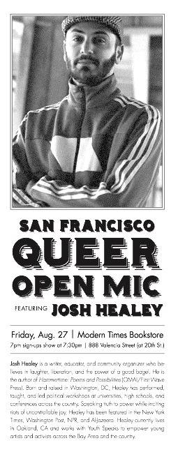 Josh Healy Queer Open Mic Flyer