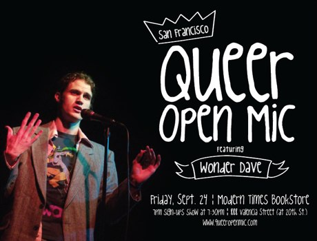 Wonder Dave Queer Open Mic Flyer